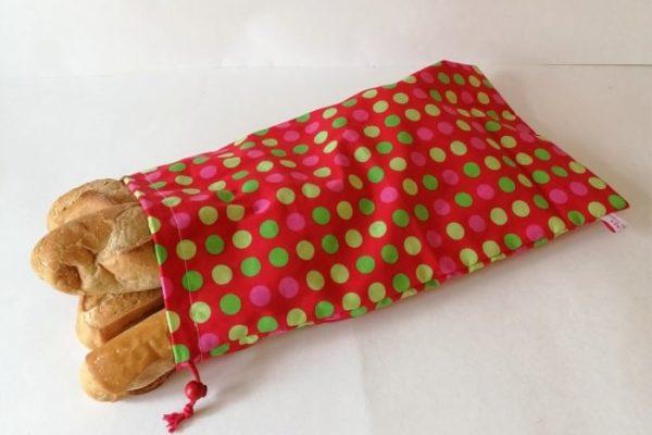 sac à baguettes multiples rouge à pois
