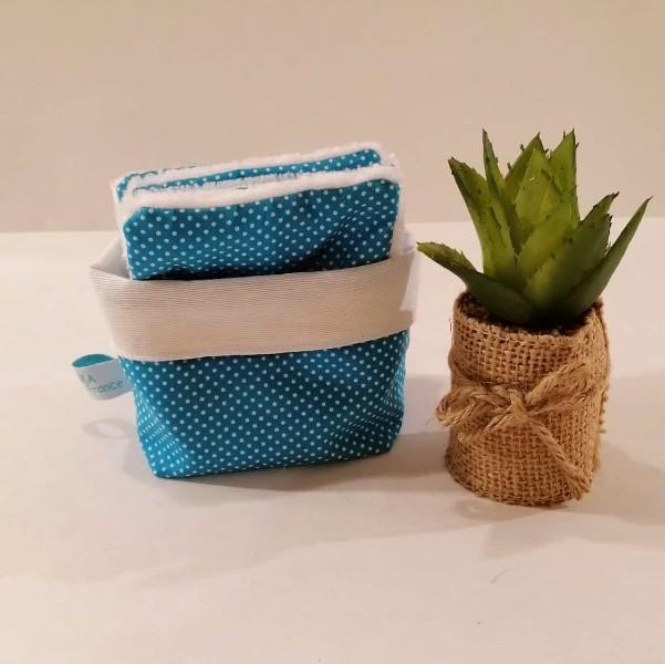 lingettes lavables turquoise